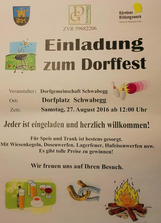 Einladung zum Dorffest der DG Schwabegg
